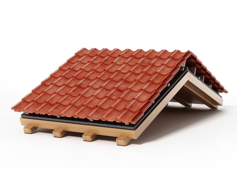 Roof construction detail isolated on white background. 3D illustration.