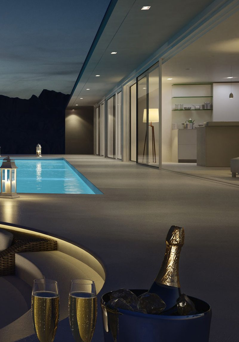 pool villa with glasses and bottle of champagne. 3d rendering